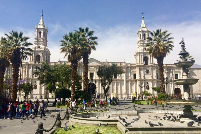 Catedral de Arequipa en mi viaje a Perú