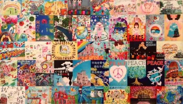 Dibujos hechos por niños en el Museo Memorial de la Paz de Hiroshima