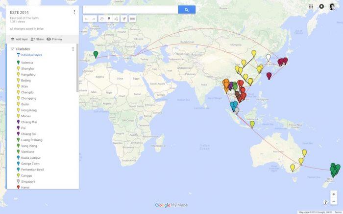 Recorrido del viaje alrededor de Asia y Oceanía