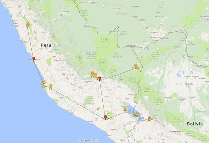 Recorrido de mi viaje por Perú